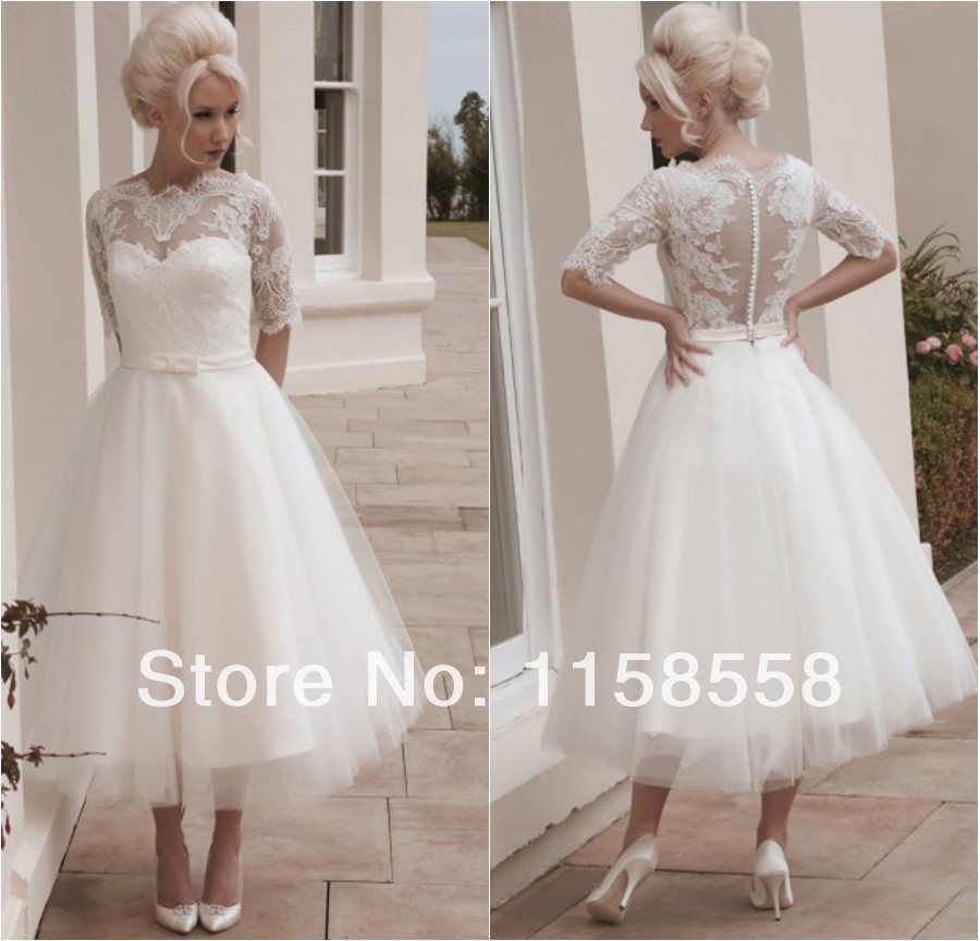Find More Wedding Dresses Information About Free Shipping Elegant Half Sleeves Inllusion Neckline Ankle Length Short