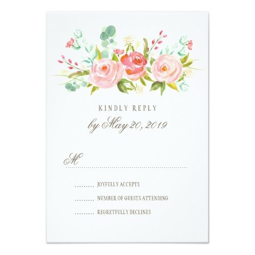 Formal Wedding Invitation RSVP Classic Rose Garden Wedding RSVP Card