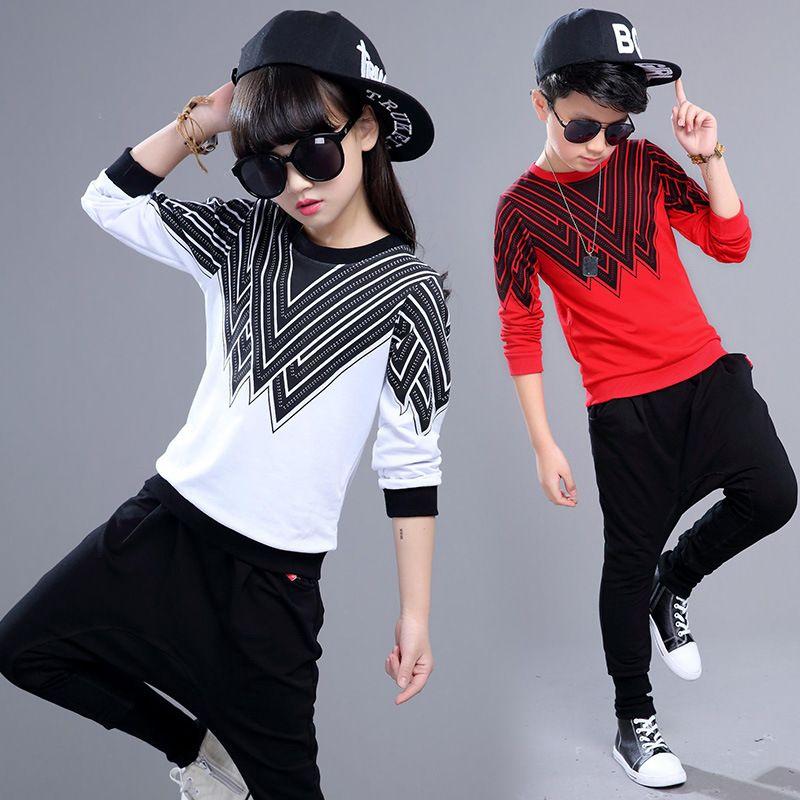 2721b47a9458 Kids children clothing big boys girls clothes set tracksuit hip hop dance  Harem pants sets costume