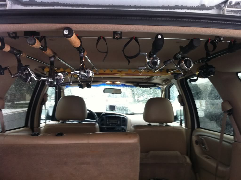 Suv interior rod rack cosmecol for Fishing rod holder for suv