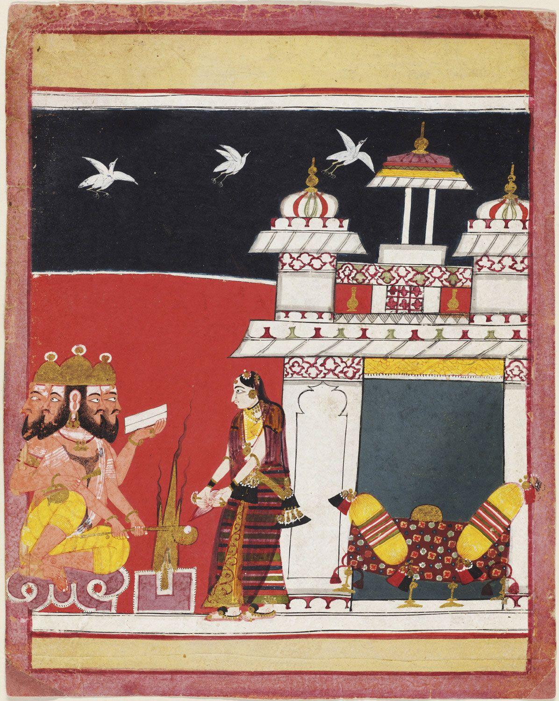 Khambhavati Ragini (A Woman Worshipping Brahma) Page from a dispersed ragamala series Made in Madhya Pradesh, Malwa Region, India, Asia ca. 1650-1660
