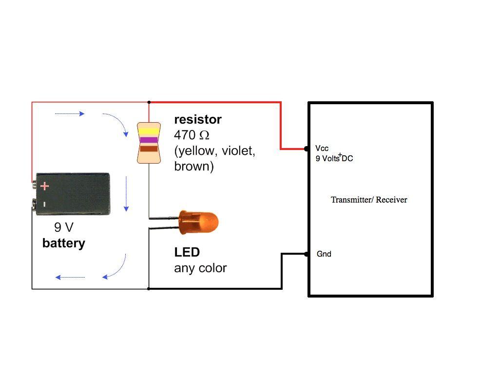 led # circuit for 9 volt # transmitter ...
