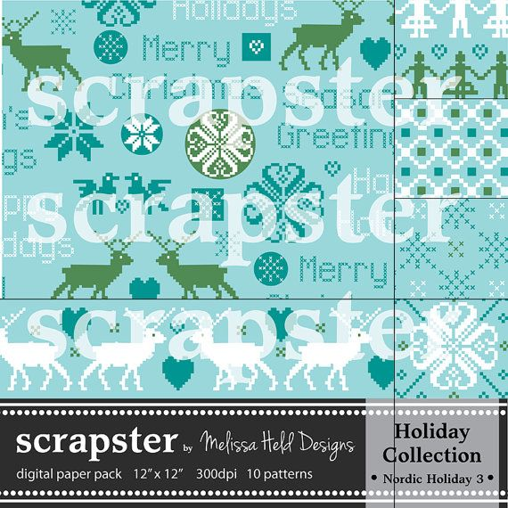 Nordic Digital Patterns 3 Blue Teal and by ScrapsterbyMHdesigns, $4.50