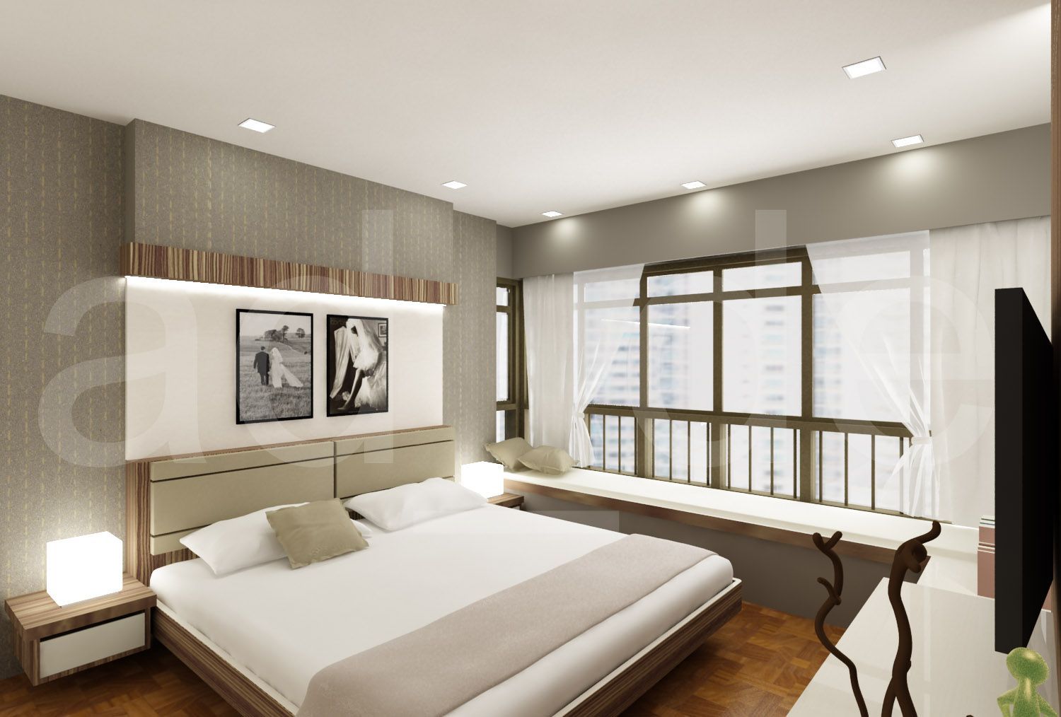 Interior designer adrian lau hdb and condo bedroom 3d for Condo interior design ideas