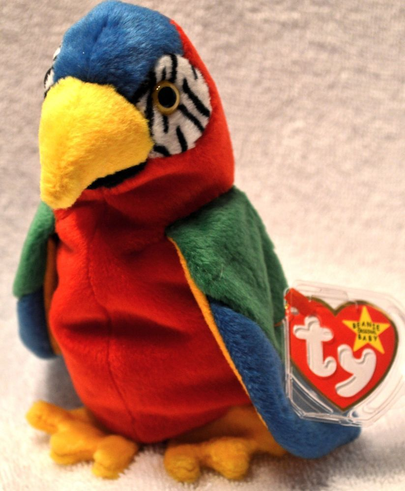 410a1b12adc TY Beanie Baby Retired  Jabber the  Parrot Mint Protected Tag 1998 ...