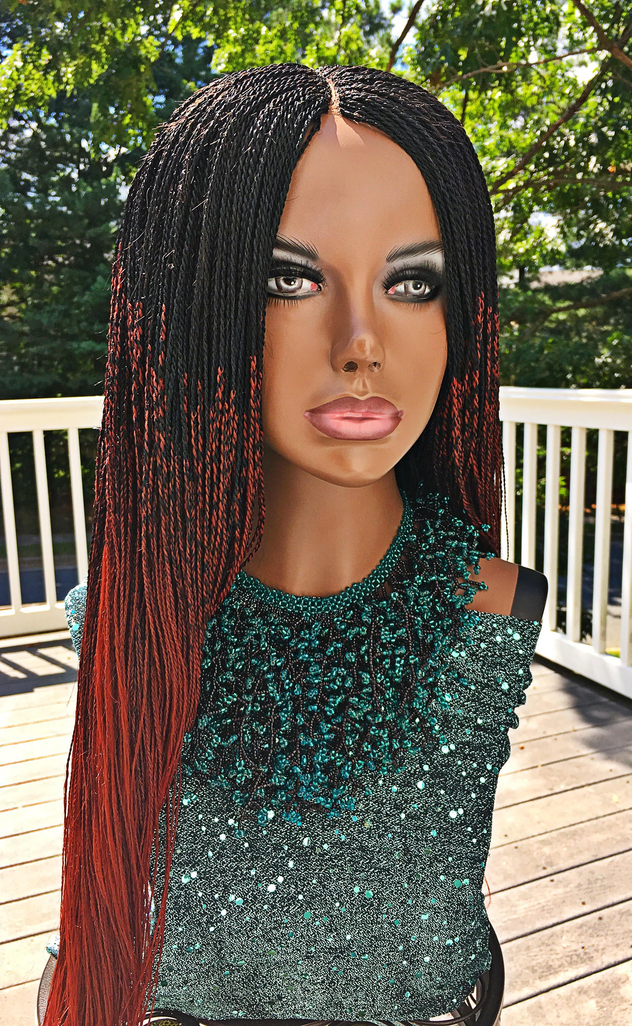 Beautiful Handmade Micro Twist Million Ombre Braided Wig Each Wig Is Hand Crafted By Stylist In Africa To Achieve Quality And Wigs Black Girl Braids Braids Wig