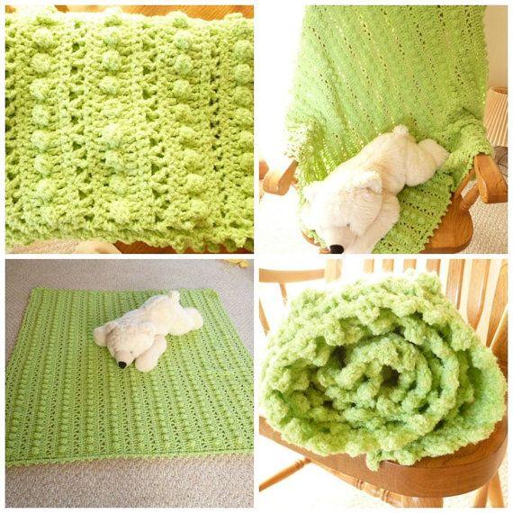 Crocheted Kiwi Green Baby Blanket B1G1 by WarmingHeartsB1G1