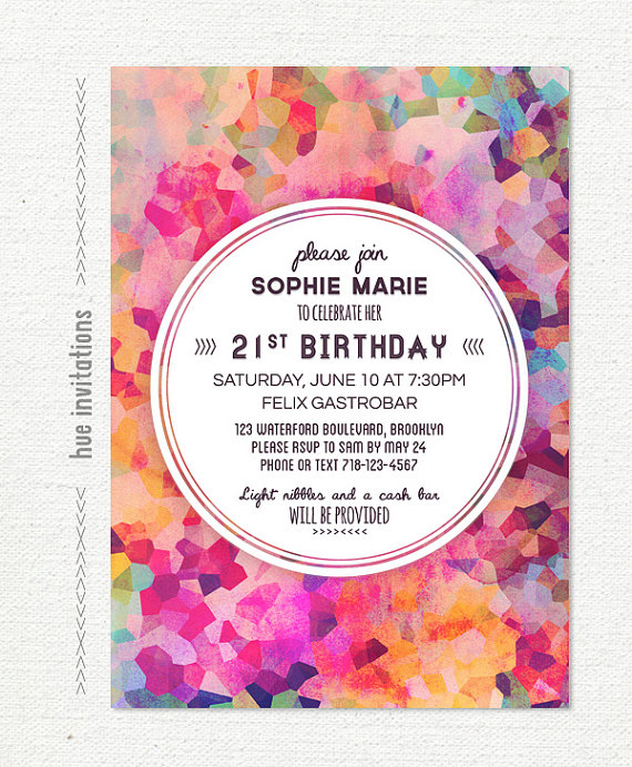 Geometric 21st Birthday Party Invitation Watercolor Purple Pink Artsy Glam Mod