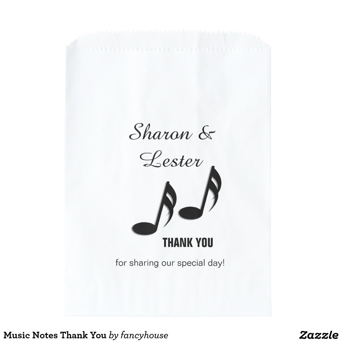 Music Notes Thank You Favor Bags For matching wedding invitations ...