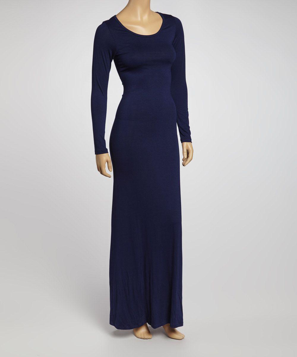 American twist navy longsleeve maxi dress by american twist zulily