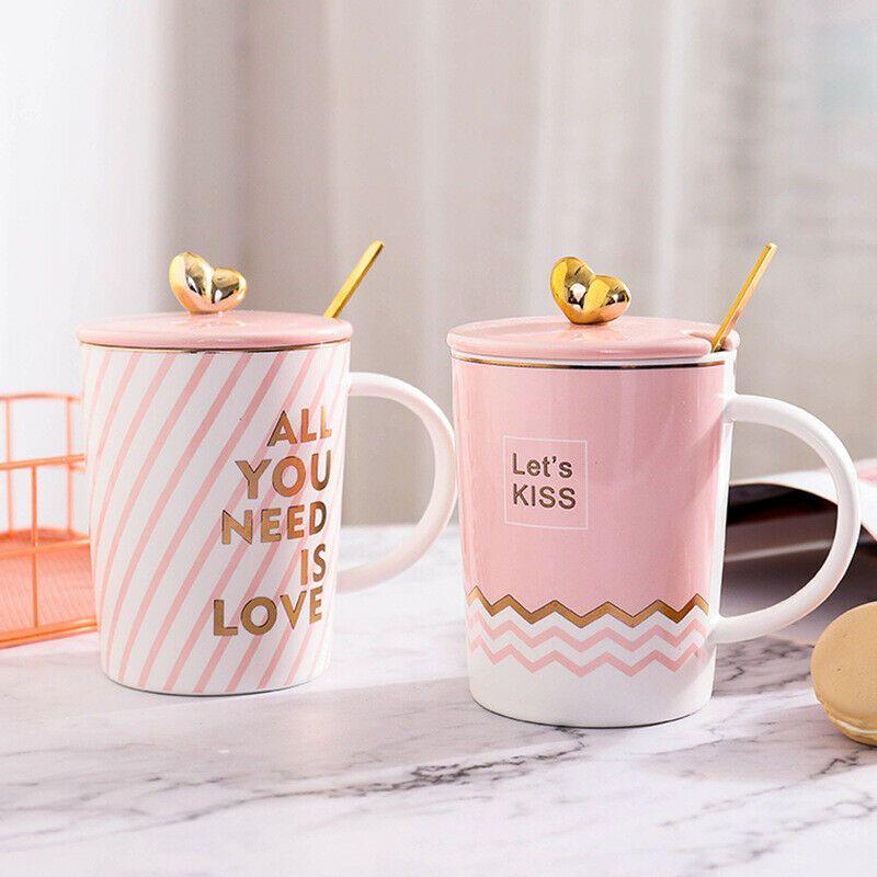 Pink Life Cute Ceramic Mug With Lid Spoon Milk Coffee Mug Girls Lovers Cups Unbranded Mugs Coffee Mugs Ceramic Mug With Lid