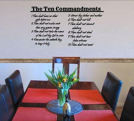 Ten Commandments Decal Vinyl Wall Sticker Living Room Decal Christian Sunday School Bible Church Decals Scripture Decorations Vinyl Wall Stickers Vinyl Wall Wall Stickers Living Room