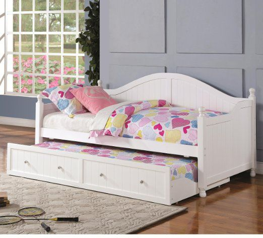 Robot Check Coastal Bedroom Furniture Wooden Daybed With Trundle Daybed With Trundle White wood daybed with trundle