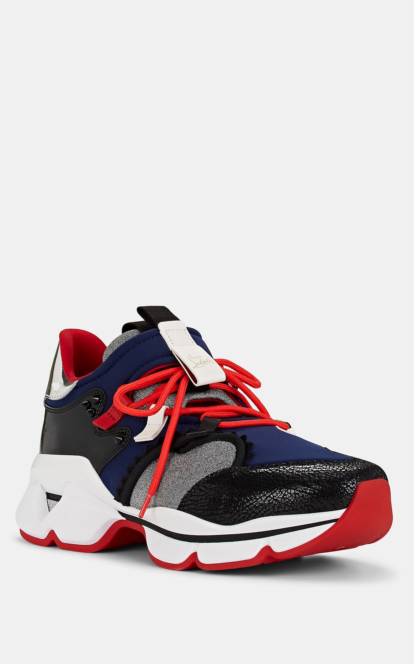 new arrival 98d51 55a91 Christian Louboutin Men's Red-Runner Mixed-Material Sneakers ...