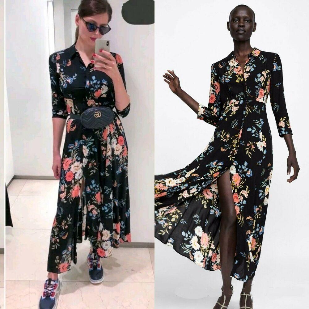 98dc860b3f0 NWT ZARA Flowing Long FLORAL Print Dress Shirt Size M Ref.2183/249 #ZARA  #BohoChicTunicALineDressMaxiDress #PartyCocktail