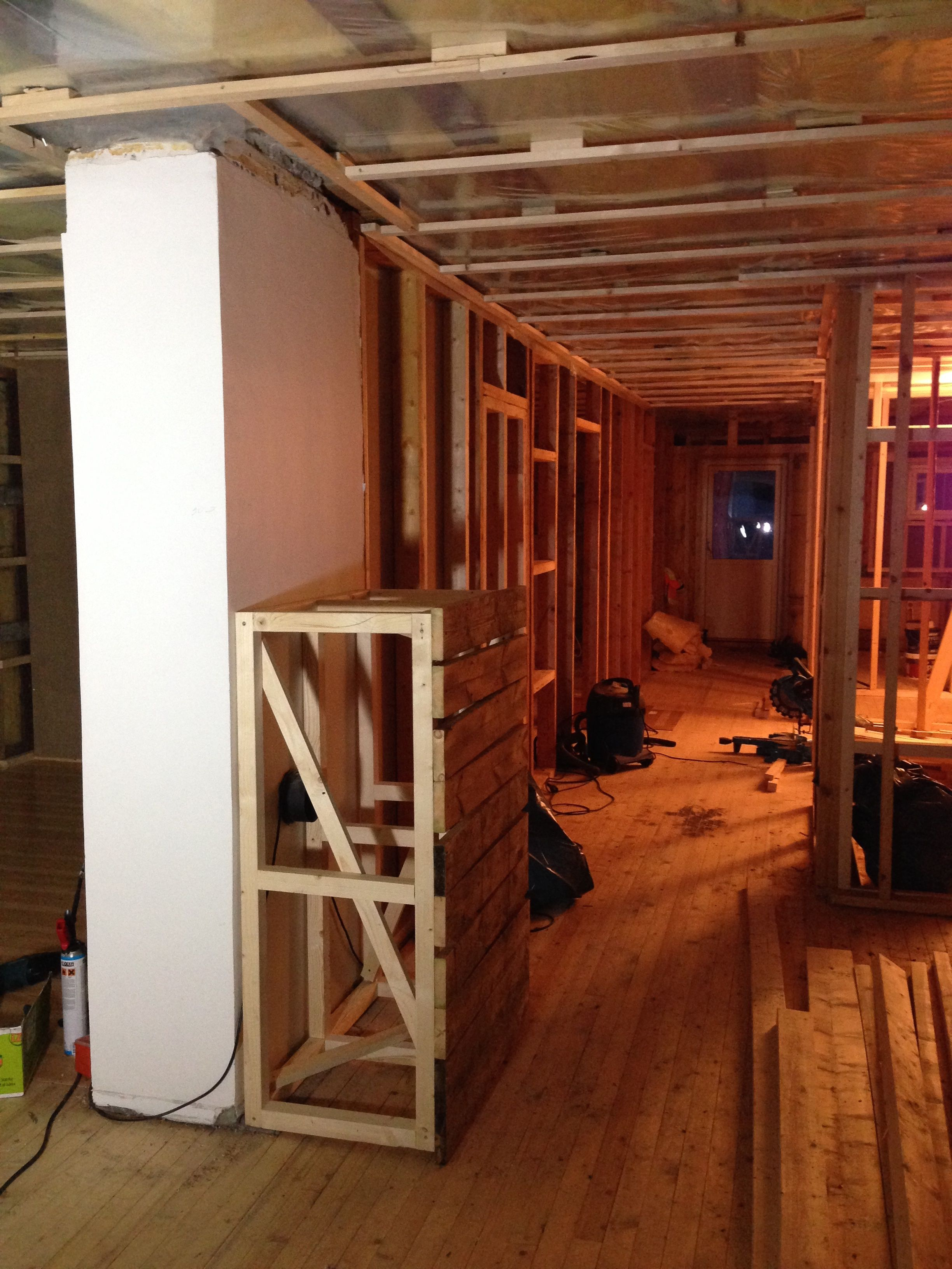Wall and ceiling ready for insulation.