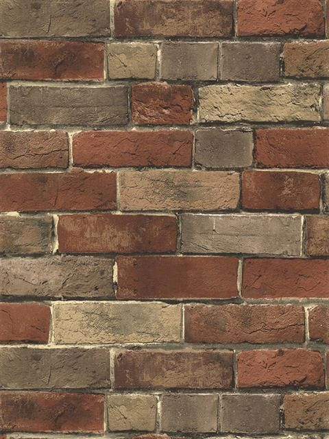 BG21584 Rust Tan Grey Brick Wallpaper