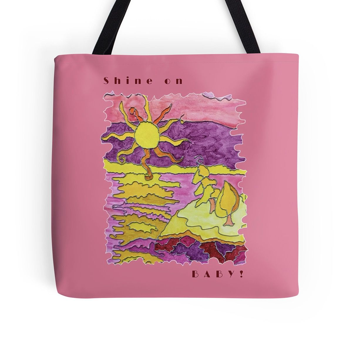 Shine On Baby! - Funny pink beach tote bag with sunny beach scene in faux stained-glass look with humorous quote.