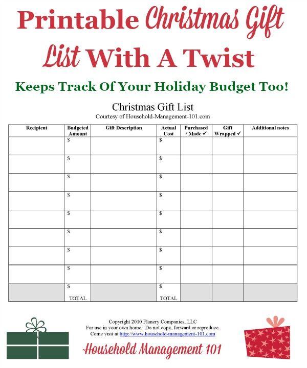 Christmas Gift Planner: Christmas Gift List Printable: Use It To Help Create Your