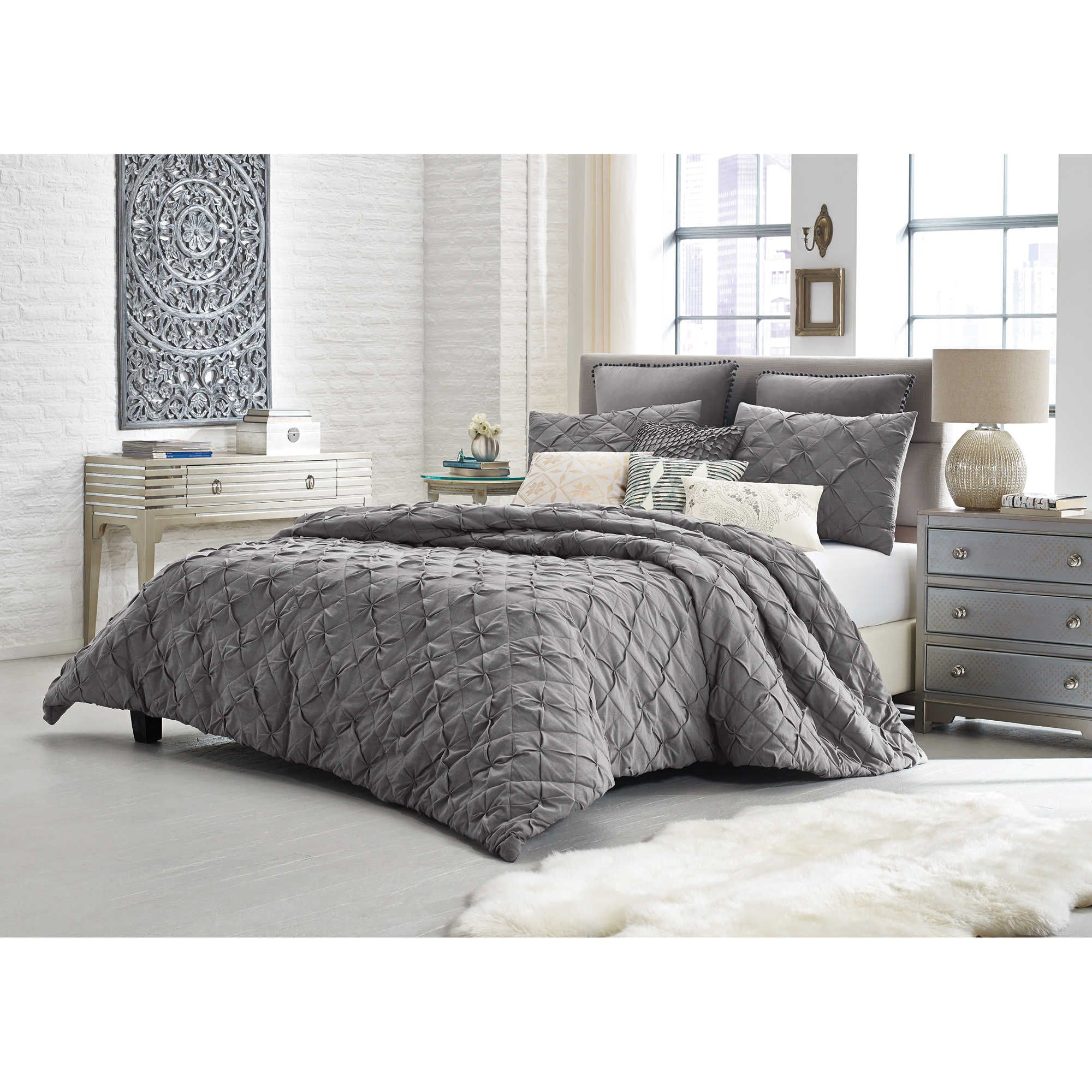 Charcoal Grey Bedding Picked This Up Today Love It With The Gray And Yellow
