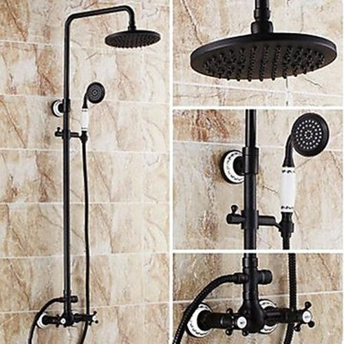 8 Inch Antique Oil Rubbed Bronze Finish Two Handles Shower Faucet