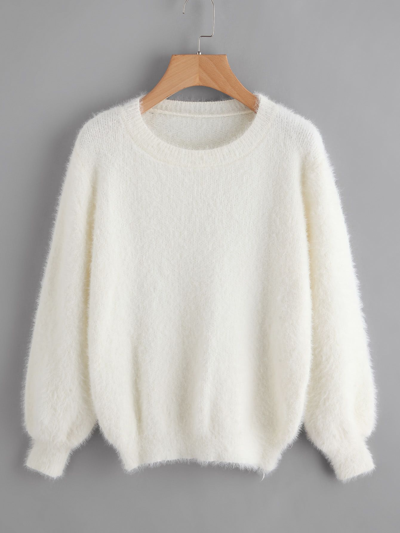 6bb9a82c56 Shop Lantern Sleeve Fluffy Sweater online. SheIn offers Lantern Sleeve  Fluffy Sweater & more to fit your fashionable needs.