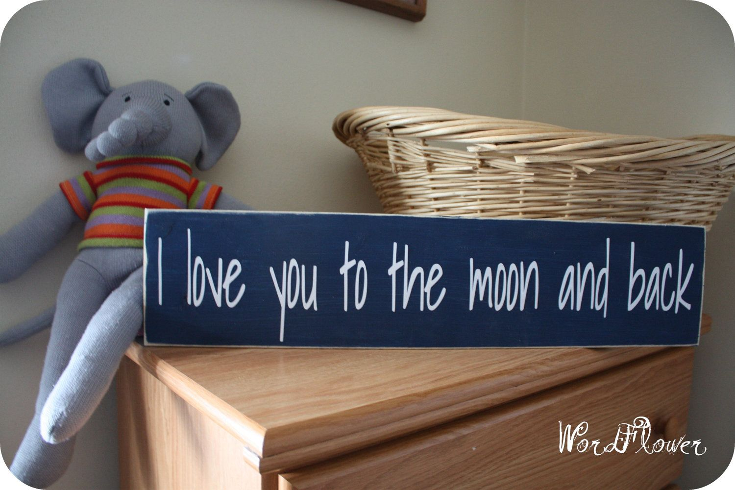wooden sign with vinyl letters  I love you to the by WordFlower, $22.00