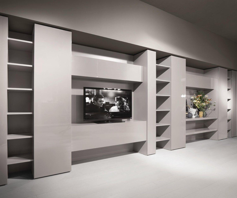 Libreria per soggiorno con tv Code - ARREDACLICK | salone camino ...