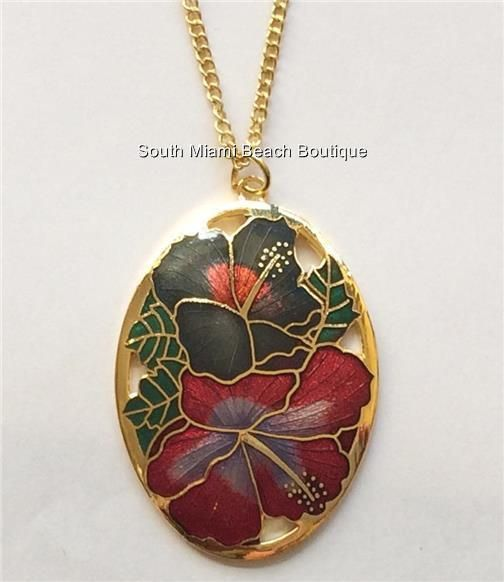 Gold Plated Cloisonne Hibiscus Flower Necklace Island Beach Wedding Hawaiian USA #Unbranded #Pendant