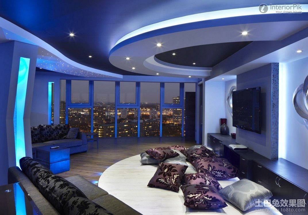 Minimalist living room with gypsum ceiling blue lighting for Apartment lighting design