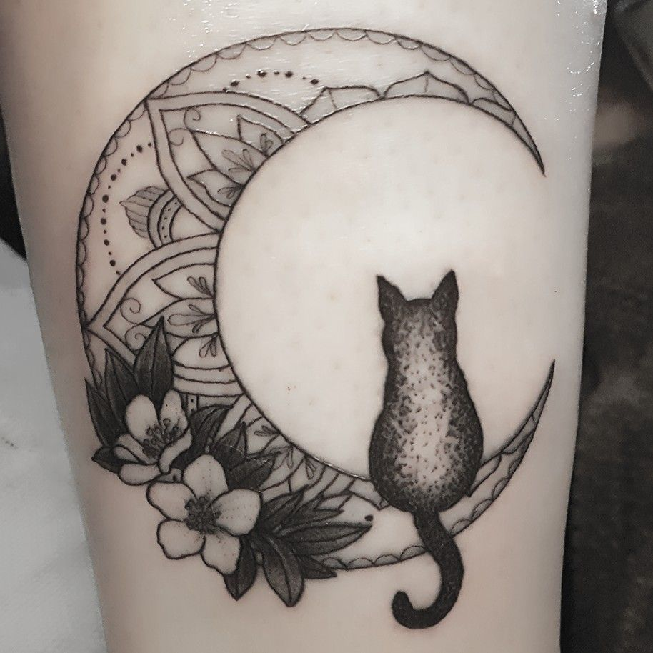 Mandala Moon Tattoo With Flowers And Cat Silhouette Cat Silhouette Tattoos Cat Tattoo Designs Silhouette Tattoos