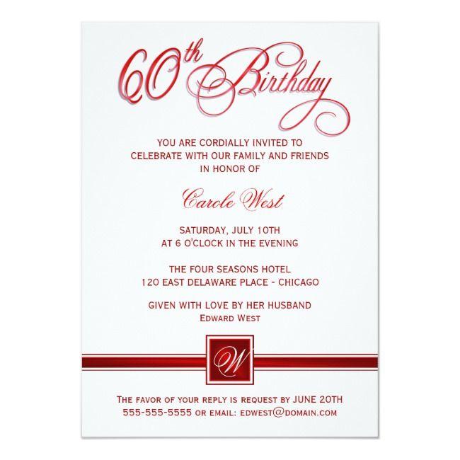 60th Birthday Party Invitations Custom Maroon Zazzle Com