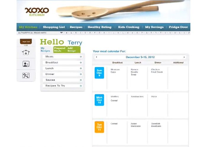 Each family has a homepage to organize meals, recipes and prepared