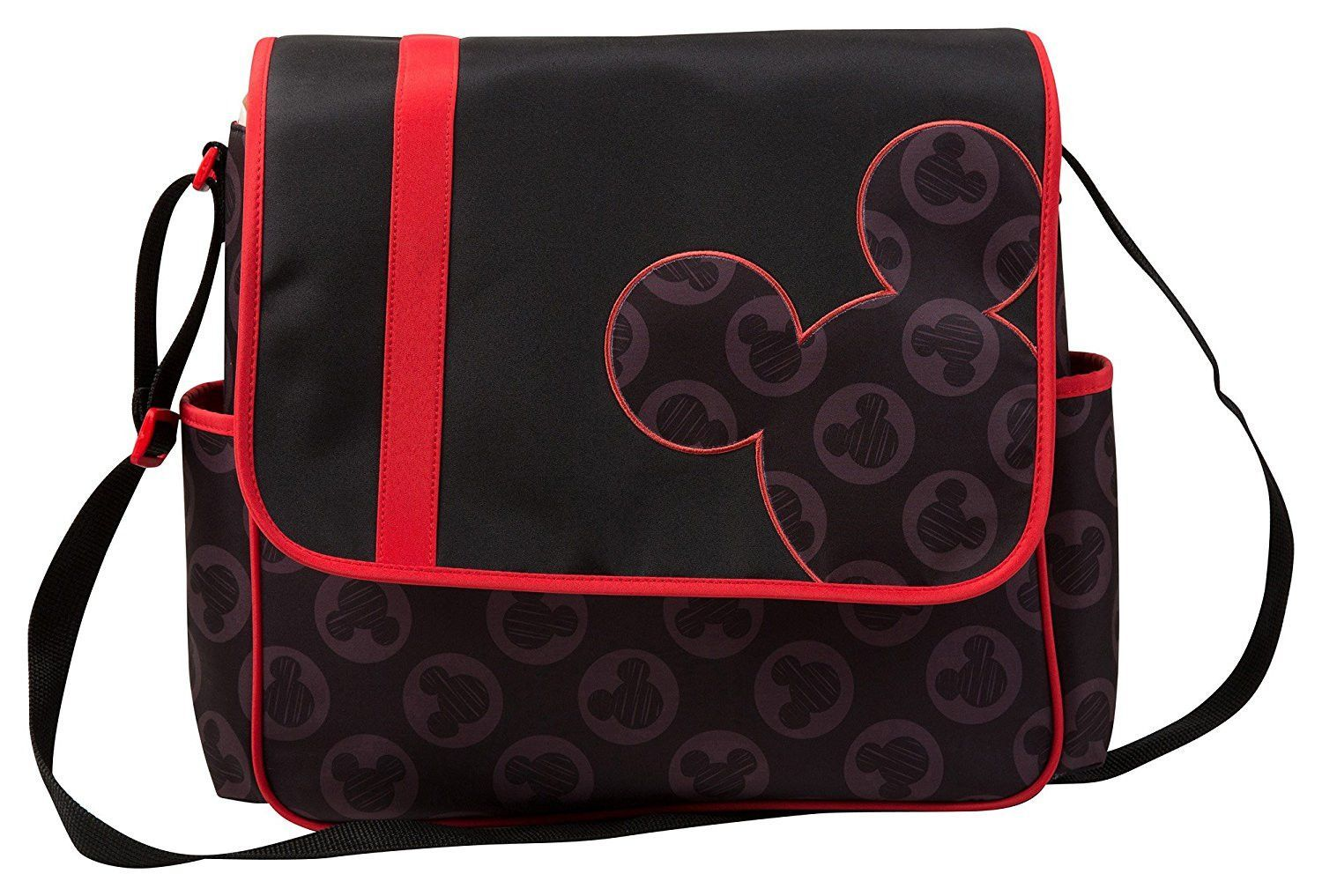 Disney Mickey Toss Heads Flap Diaper Bag, Black/Red, Large