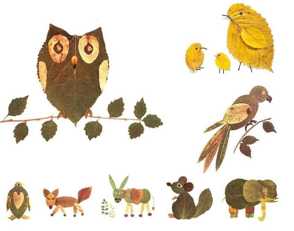 Animales con hojas de arboles MANUALIDADES Pinterest Animales