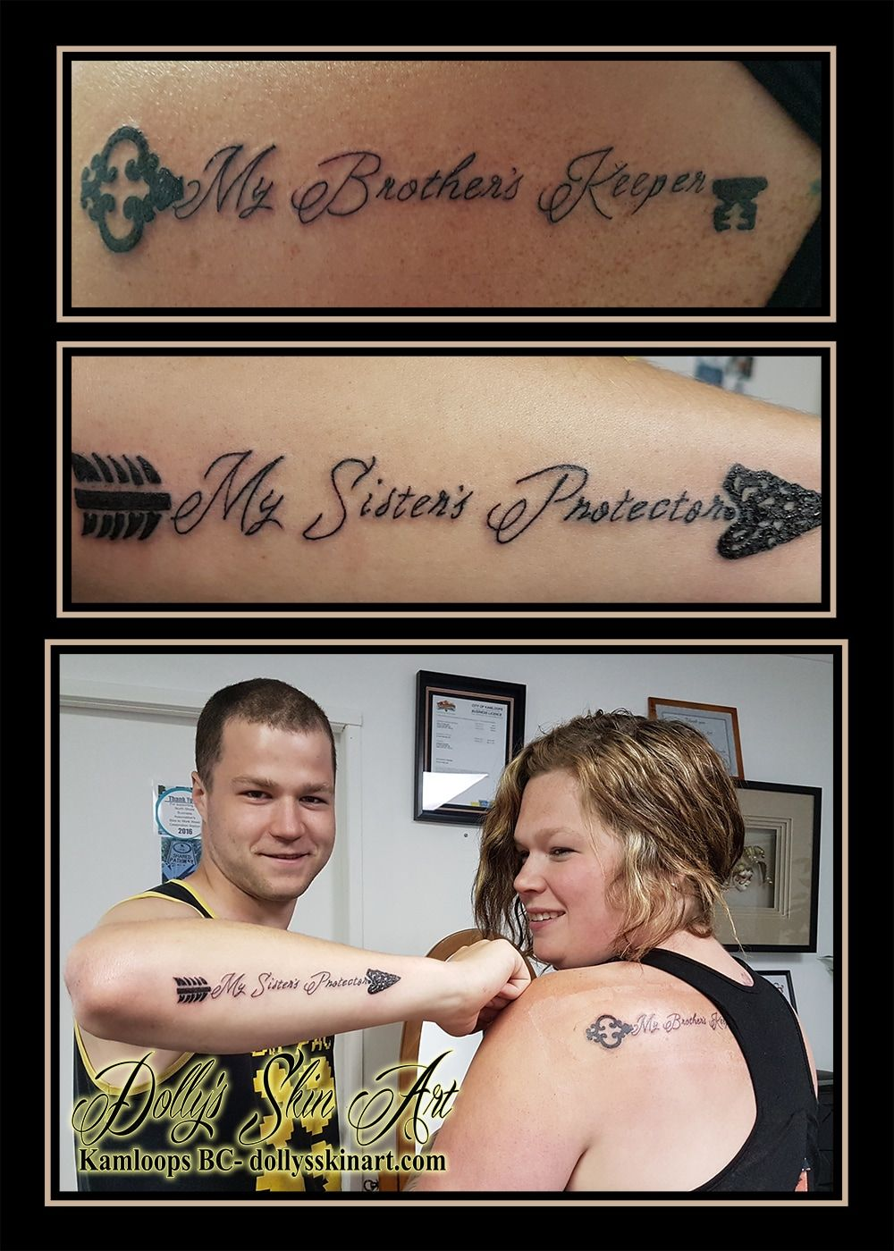 f7b9f884cbf3b my brother's keeper my sister's protector arrow key matching tattoo font  lettering black kamloops dolly's skin art