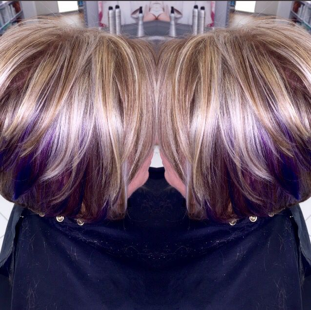 Blonde And Purple Hair Highlights