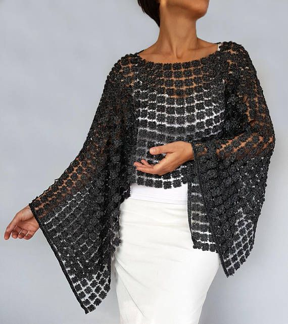 Anthracite Gray Tunic, 3D Embroidery Lace Shrug Bolero, Evening Dress Coverup, Mother of the Bride Shawl, Poncho Cape Top Shoulder Stole