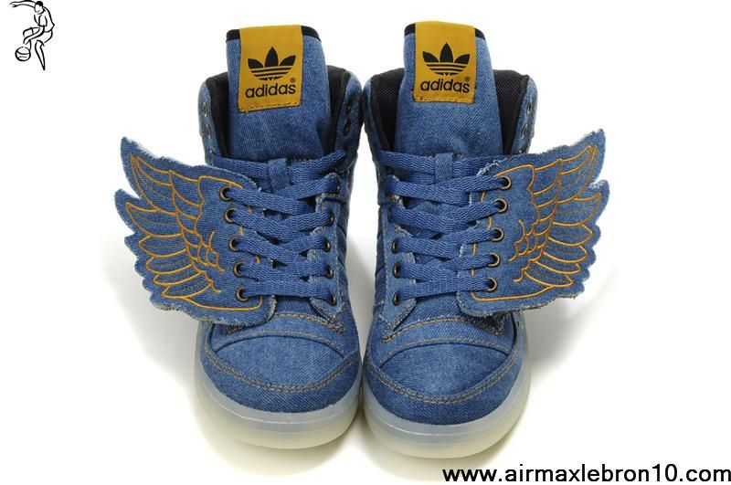 Buy Adidas X Jeremy Scott Wings Dark Blue Denim Shoes Basketball Shoes Store