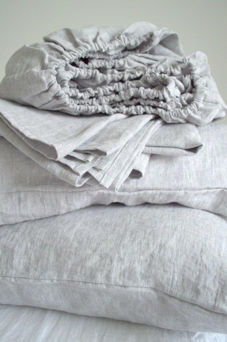 Linen Sheets Set Fitted Sheet Flat Sheet Pillowcases Queen King Custom Size Bedding Sheets Set With Pillowcases Linen Bed Sheets In 2020 Linen Sheet Sets Linen Sheets Linen Bed Sheets