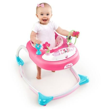 Your baby will find the Disney Baby Minnie Mouse PeekABoo Walker simply ear-resistible! This adorable walker is full of sweet and stylish fun with an electronic toy station. The seat pad has 3 different height positions to provide some growing room for your little sweetheart and comes with 2 link loops to add baby's favorites. Lights and sounds, piano keys, clicky flower with beads and an adorable Minnie bead chaser inspire playtime with Minnie. It's all about the bow!