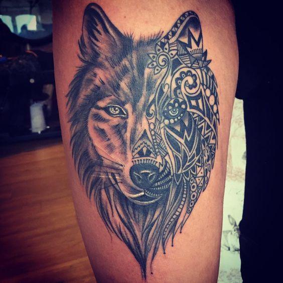 Womens wolf tattoo thigh tattoos women wolf womens thigh for Womens calf tattoos