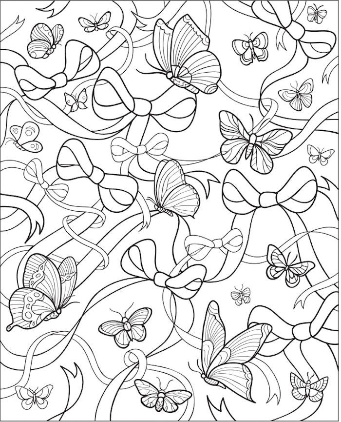 Dover Butterflies Bows Adult Coloring Pages Pinterest