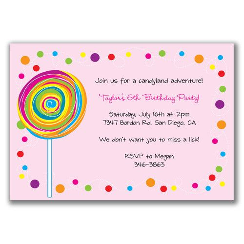 lollipop invitations retro whimsy designs candyland invitations for sweet 16