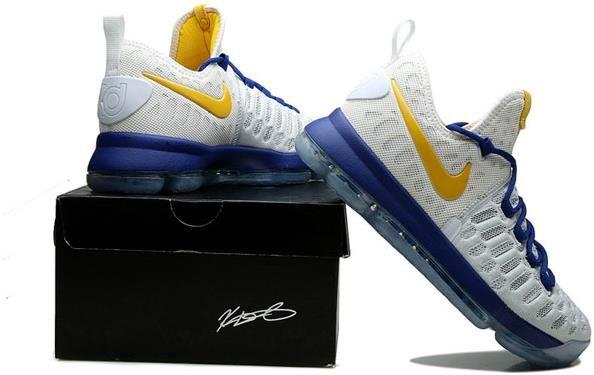 76dda3331472 Nike Zoom KD 9 Mens Basketball Shoes White sapphire blue yellow