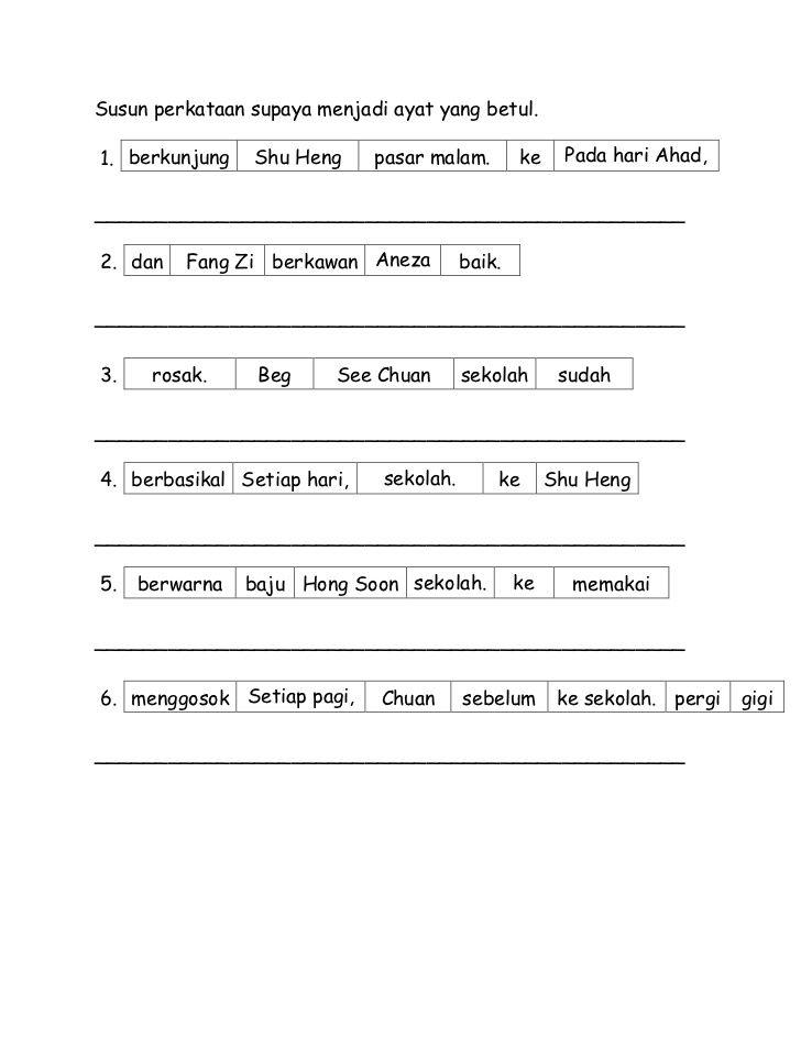 Susun Perkataan Supaya Menjadi Ayat Yang Betul 1 Berkunjung Shu Heng Pasar Malam Ke Kindergarten Reading Worksheets Malay Language Maths Exam