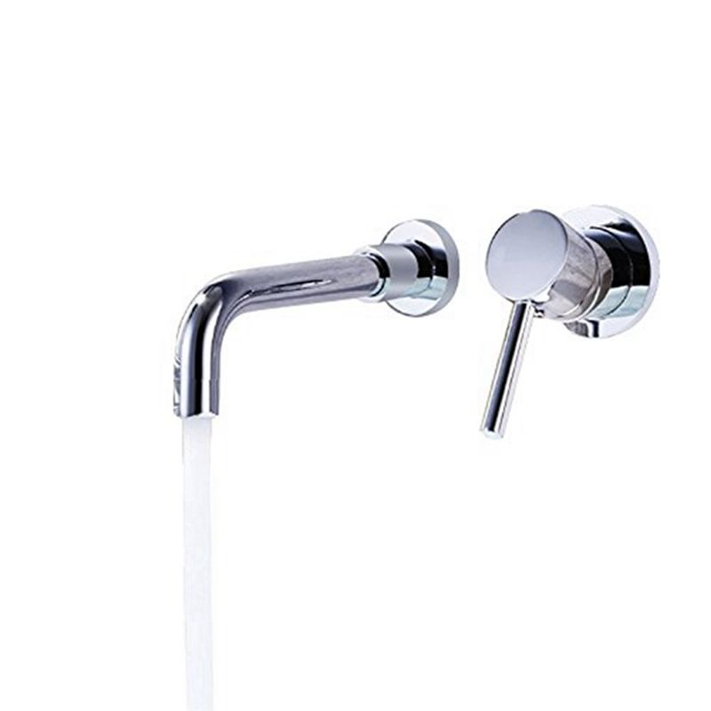 Chrome Round Basin Faucet Modern Wall Mount Sink Tap Single