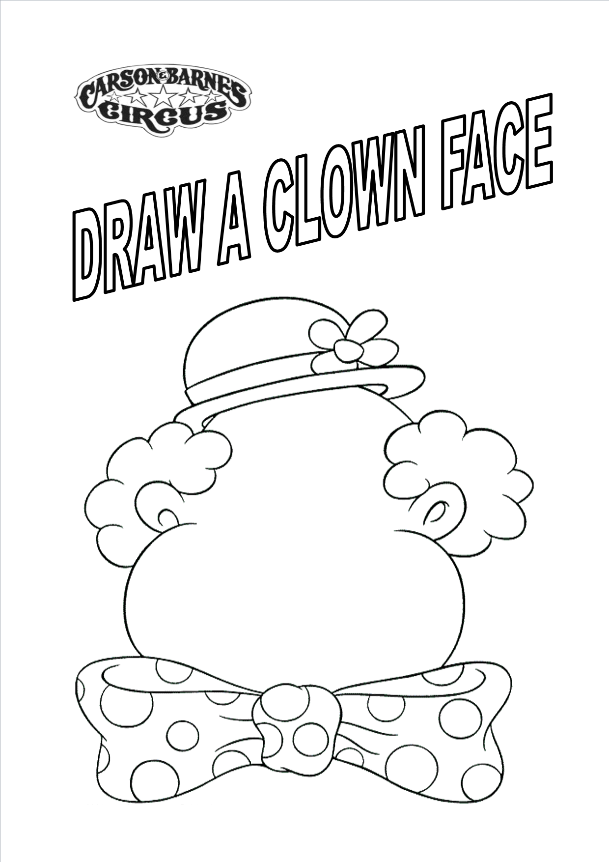 coloring page draw a clown face - Circus Coloring Pages