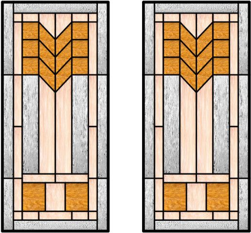 Stained Glass For Kitchen Cabinets: This Craftsman Style Of Glass Uses Cheverons Very Well In