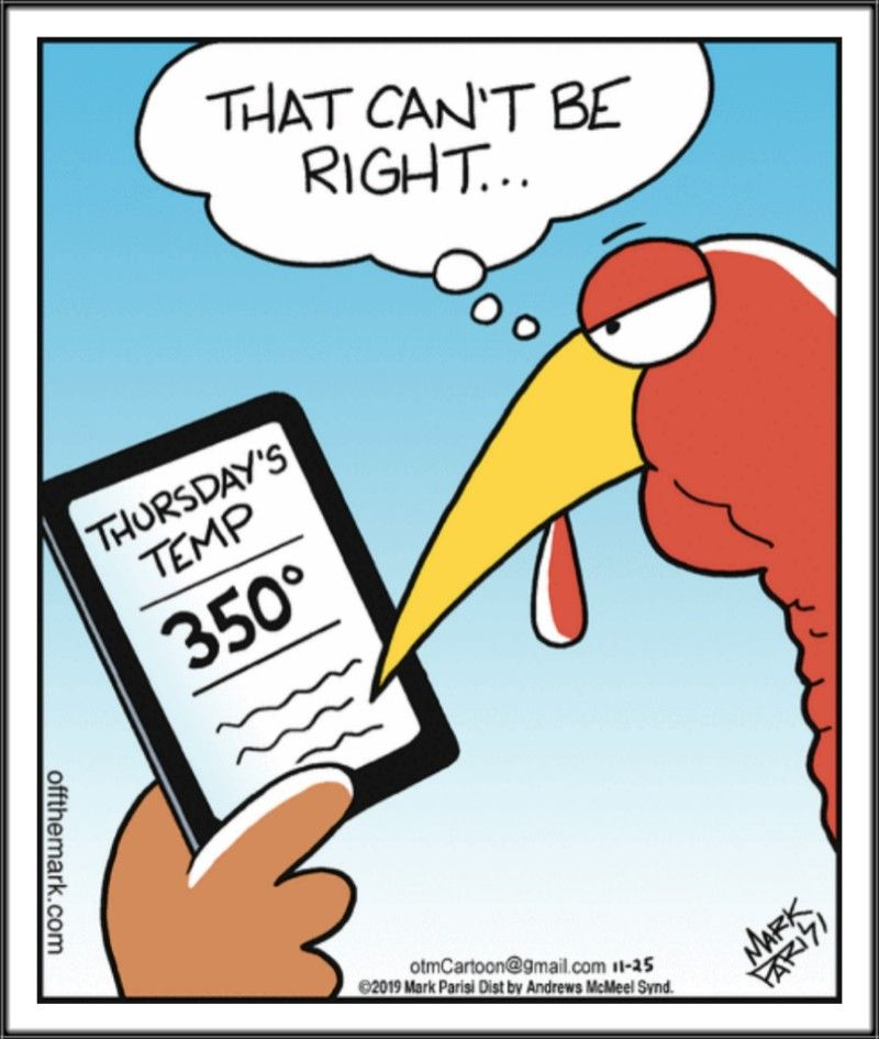 Off The Mark Don T Worry It S Only Dry Heat Thanksgiving Jokes Holiday Jokes Thanksgiving Cartoon